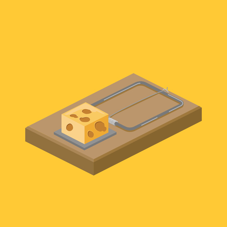 Mousetrap and cheese isometric vector illustration.