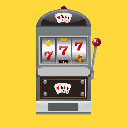 Slot machine realistic style vector illustration.