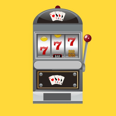 Slot machine realistic style vector illustration.