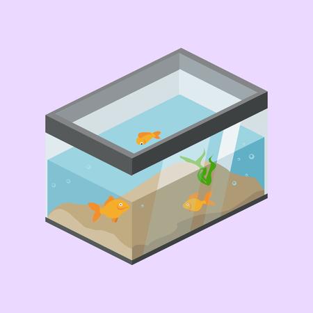 Aquarium with fish isometric vector.