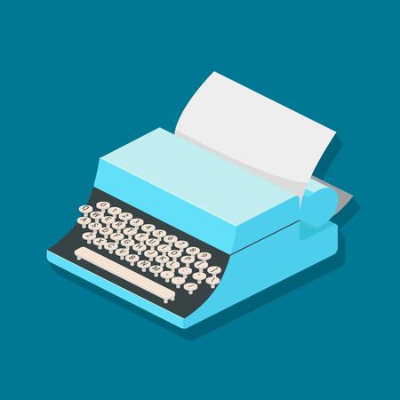 Typewriter mechanic isometric vector illustration.