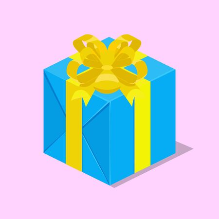 Gift box with ribbon isometric vector illustration.