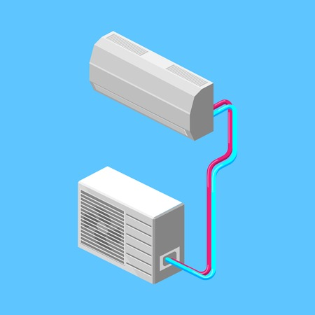 Air conditioner colorful minimalistic isometric style vector illustration