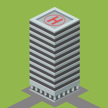 Grattacielo costruzione isometrica illustrazione vettoriale
