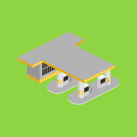 Gas station isometric vector illustration