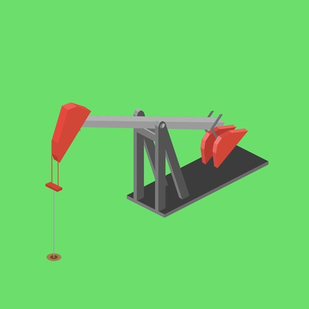 Oil rig colorful minimalistic isometric style vector illustration