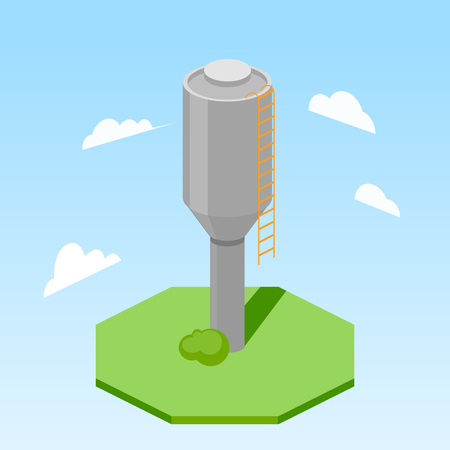 Water tower building colorful minimalistic isometric style vector illustration