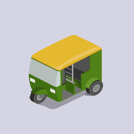 Auto rickshaw transport colorful minimalistic isometric style vector illustration Illustration