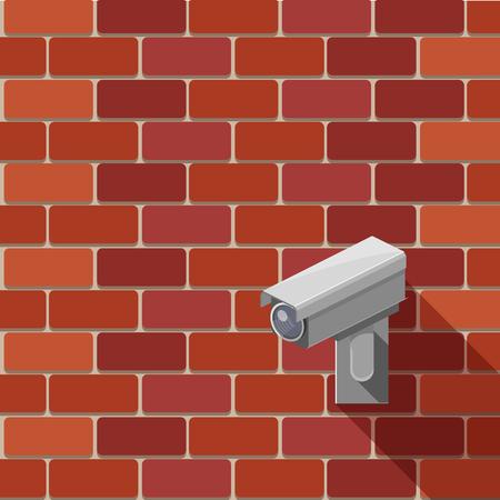 Toezichtcamera op de muur kleurrijke minimalistische isometrische stijl vectorillustratie