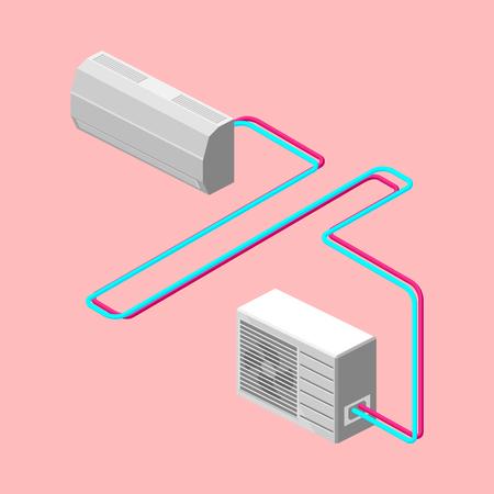 Air conditioner isometric vector illustration Illustration