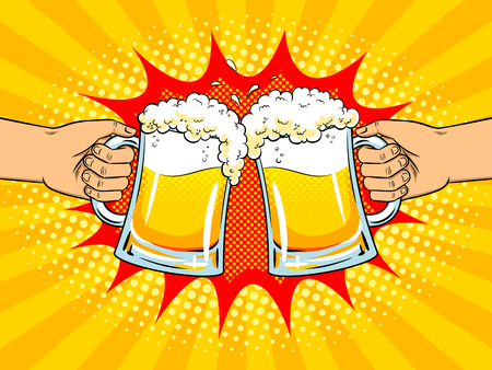 Hands with mugs of beer pop art retro vector illustration. Clink glasses. Comic book style imitation.