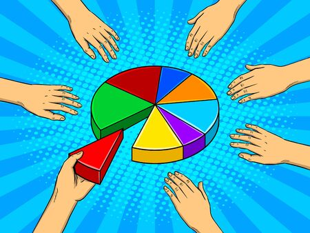 Hands taking pieces of a pie chart pop art retro vector illustration. Budget metaphor. Comic book style imitation.