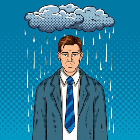 Homme avec illustration vectorielle rétro mauvaise humeur pop art. Mauvais jour. Imitation de style bande dessinée. Vecteurs