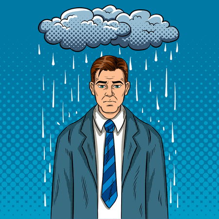 Man with bad mood pop art retro vector illustration. Bad day. Comic book style imitation. Ilustrace
