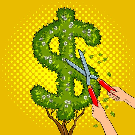 Bush plant in the form of a dollar sign pop art retro vector illustration. Gardener shear plant. Comic book style imitation. Stok Fotoğraf - 84741685