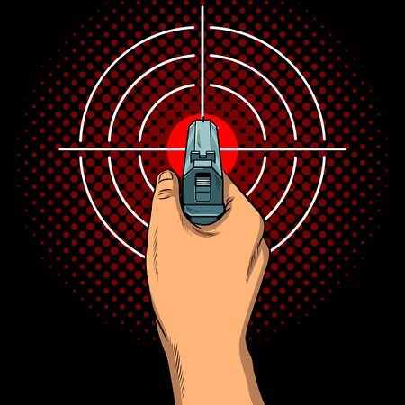 Hand with the gun and aim pop art vector