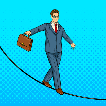 Businessman is balancing on the rope pop art retro vector illustration. Comic book style imitation.