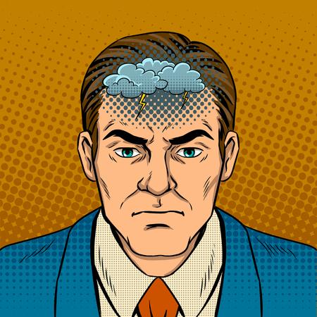 機嫌が悪いポップアート レトロなベクトル図を持つ男。コミック スタイルの模倣。