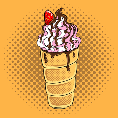 Trdelnik spit cake pop art hand drawn vector illustration. Иллюстрация