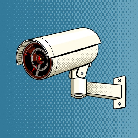 Surveillance Camera on the wall pop art