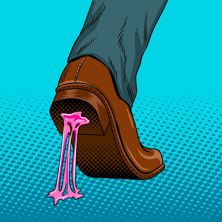 Chewing gum stuck to the shoe pop art