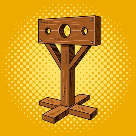 Stocks medieval instrument torture pop art