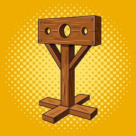 Voorraden middeleeuws instrument foltering pop-art Stock Illustratie