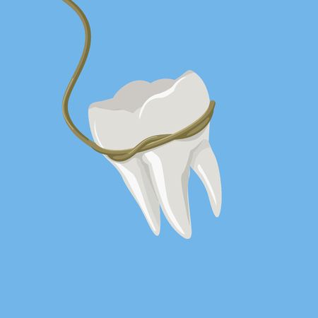 Tooth pulled with rope colorful minimalistic isometric style vector illustration
