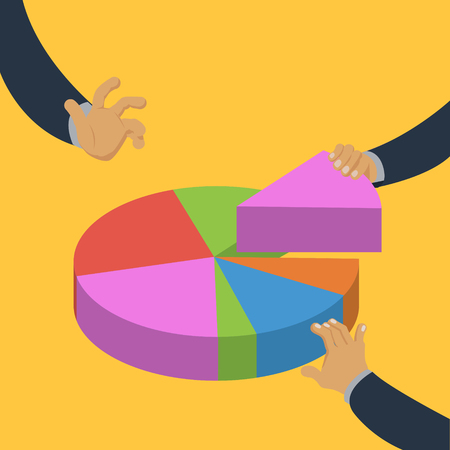 Hands taking pieces of pie chart colorful minimalistic isometric style vector illustration