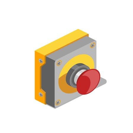 Bunte minimalistic isometrische Artvektorillustration des roten Knopfes Standard-Bild - 84890569