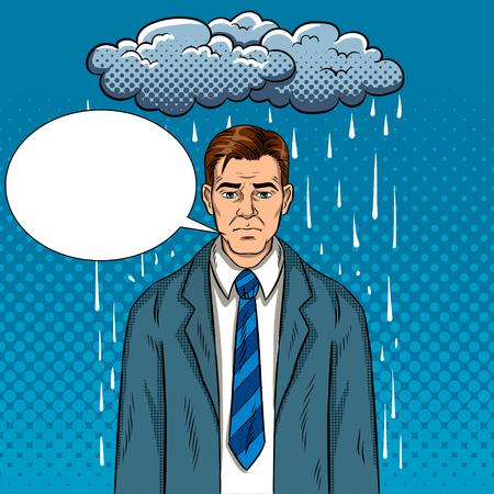 Man with bad mood pop art retro vector illustration. Bad day. Comic book style imitation. Stock Photo