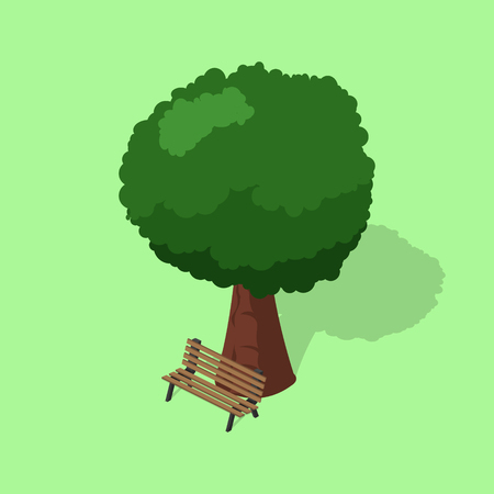 Park bench with tree isometric vector illustration