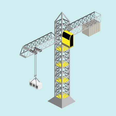 Construction crane isometric vector Çizim