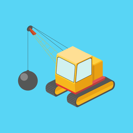 Building destruction machine isometric vector Illustration