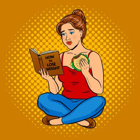 脂肪質の女の子ウェイト ポップアートを失うしようとしています。  イラスト・ベクター素材
