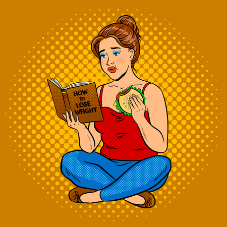 Fat girl try to lose weight pop art vector Vettoriali
