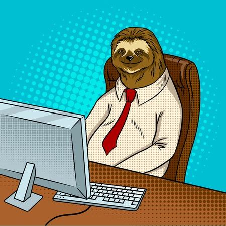 Sloth animal office worker pop art vector