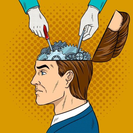 install: Hands repairs gears in head pop art vector Illustration