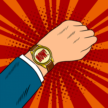 Wrist watch show now pop art vector illustration