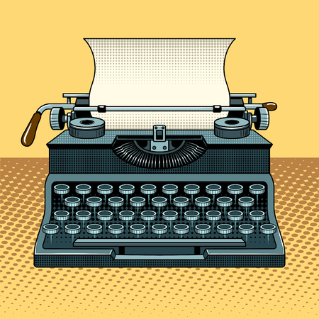 Vintage mechanic typewriter pop art style vector illustration. Comic book style imitation