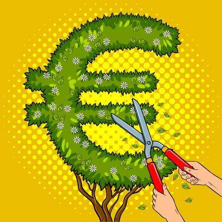 ユーロサインポップアートの形でブッシュ工場レトロなベクトルイラスト。庭師のせん断植物漫画本のスタイル模倣。
