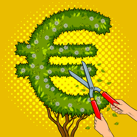 Bush plant in the form of a euro sign pop art retro vector illustration. Gardener shear plant comic book style imitation.