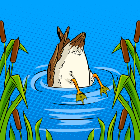Duck dives into the pond pop art retro vector illustration. Avoiding problems metaphor. Comic book style imitation. Ilustracja