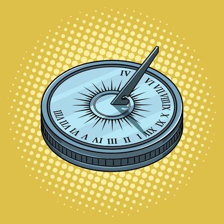 ビンテージ日時計ポップアート スタイル ベクトル イラスト。コミック スタイルの模倣