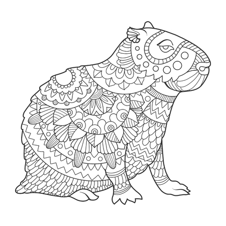 Capybara rodent animal coloring book vector illustration. Black and white lines. Lace pattern