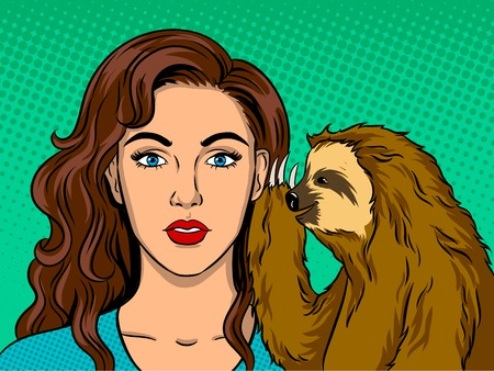 Sloth talking with girl pop art retro vector illustration. Comic book style imitation.