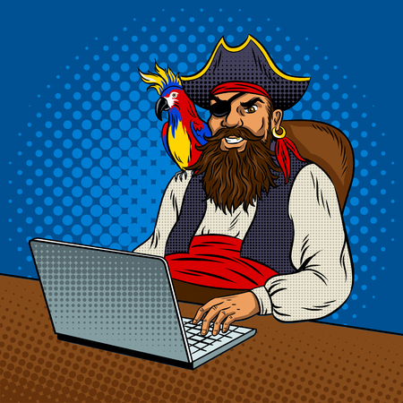 Pirate laptop computer pop art retro vector illustration. Piracy on the Internet. Comic book style imitation.