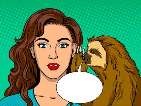 Sloth talking with girl pop art retro illustration.