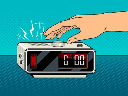 Hand turns off the alarm clock pop art retro illustration.