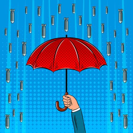 Bomb rain and umbrella pop art retro vector illustration. Comic book style imitation.